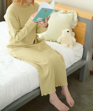 Lattice(ラティス) 【寝るときだってかわいく】メロウリブロングワンピースルームウェア