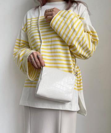 Lattice(ラティス) クロコ柄スクエアショルダーバッグ【着用動画あり】