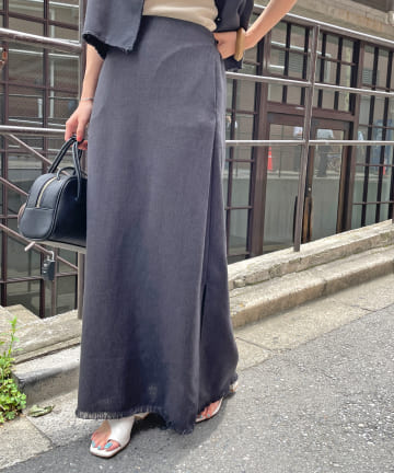 Omekashi(オメカシ) ツイードフリンジスカート