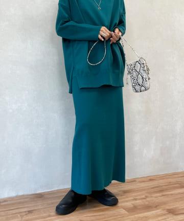 DOUDOU(ドゥドゥ) ニットアップポケット付リブスカート