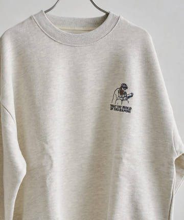 CPCM(シーピーシーエム) ヒゲサガラ刺繍裏起毛スウェット