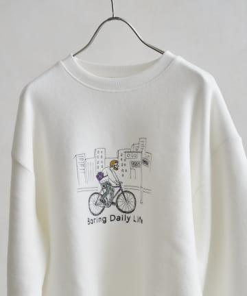CPCM(シーピーシーエム) 線画イラスト刺繍ニットソー