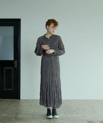 pual ce cin(ピュアルセシン) 【Du noir】ワッシャー加工スカート