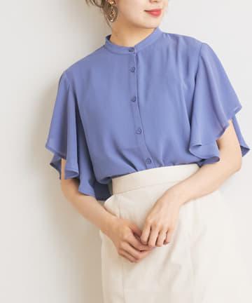 NICE CLAUP OUTLET(ナイスクラップ アウトレット) 袖ヒラヒラ 楊柳バンドカラーシャツ