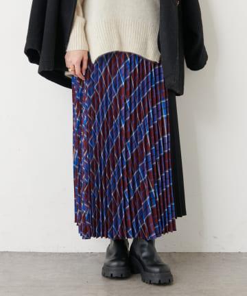 PLUS OTO.HA(プラス オトハ) チェック切り替えプリーツスカート