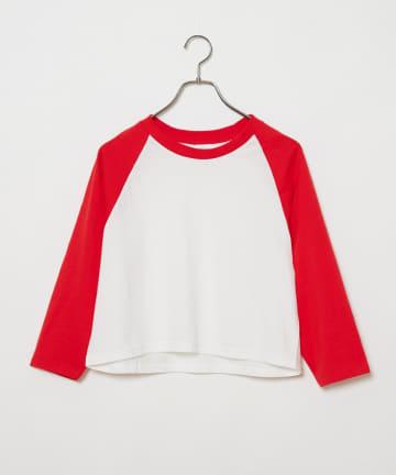 CIAOPANIC(チャオパニック) リメイククロップド丈ラグランスリーブTシャツ/WEB限定
