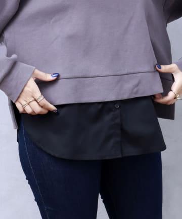 3COINS(スリーコインズ) 付けすそ:ボタンシャツタイプ