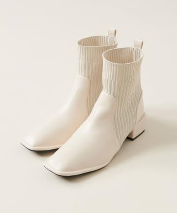 natural couture(ナチュラルクチュール) リブニット切替ショートブーツ