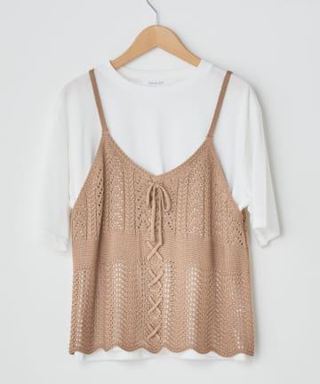OLIVE des OLIVE OUTLET(オリーブ・デ・オリーブ アウトレット) SET・透かしケーブルキャミ+Tシャツ