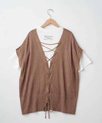 OLIVE des OLIVE OUTLET(オリーブ・デ・オリーブ アウトレット) SET・BACKレースアップベスト+Tシャツ