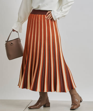 Chez toi(シェトワ) カラフルストライプマーメイドニットスカート