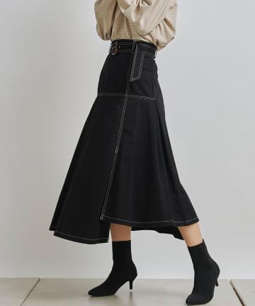 Chez toi(シェトワ) ベルト付配色ステッチアシメスカート
