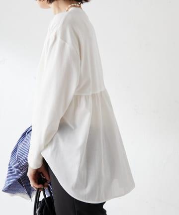 Discoat(ディスコート) 【WEB限定】ペプラム布帛切り替えTシャツ