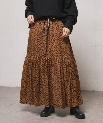 CIAOPANIC(チャオパニック) ロゴテープレオパードティアードスカート