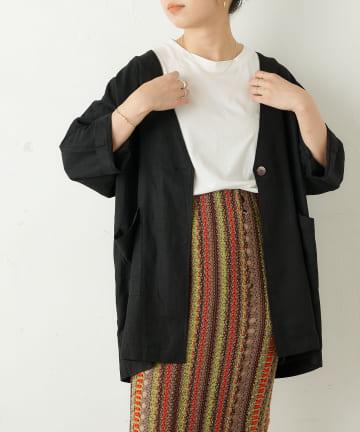 OUTLET(アウトレット) 【Omekashi】リネンビッグジャケット