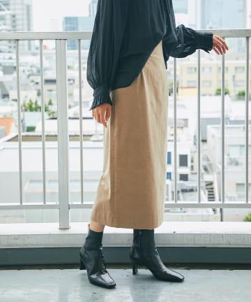 RIVE DROITE(リヴドロワ) 【細見えもキレイ見えも叶う】コーデュロイナロースカート