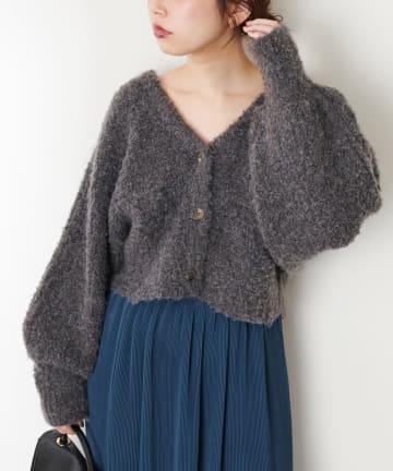 natural couture(ナチュラルクチュール) ふんわりMIXニットショートカーデ