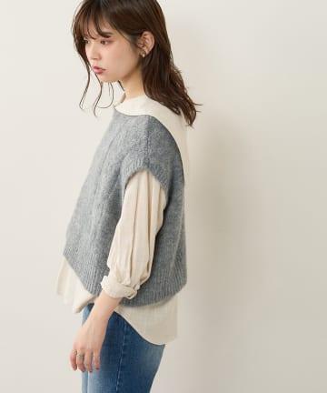 natural couture(ナチュラルクチュール) 【WEB限定】バックボタンデザインほんわりベスト
