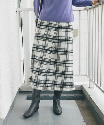 un dix cors(アンディコール) 《予約》【上質素材でエレガントに着れる】シャギーチェックナロースカート