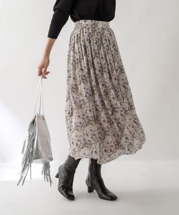 La boutique BonBon(ラブティックボンボン) 《予約》【COZスタイル・華やかプリント・手洗い可】ガーデンフラワースカート