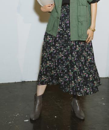 La boutique BonBon(ラブティックボンボン) 【COZスタイル・セットアップ可・手洗い可】ガーデンフラワースカート