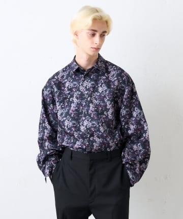 Lui's(ルイス) フラワーパターン袖ボリュームシャツ