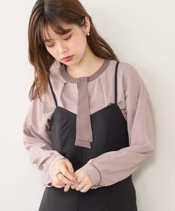 natural couture(ナチュラルクチュール) 【WEB限定カラー有り】取外し配色変形ボータイブラウス