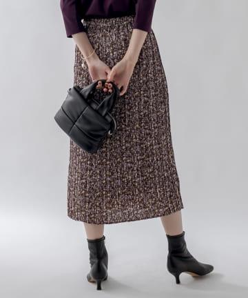 un dix cors(アンディコール) 《予約》【女性らしさを際立たせる】花柄プリーツIラインスカート