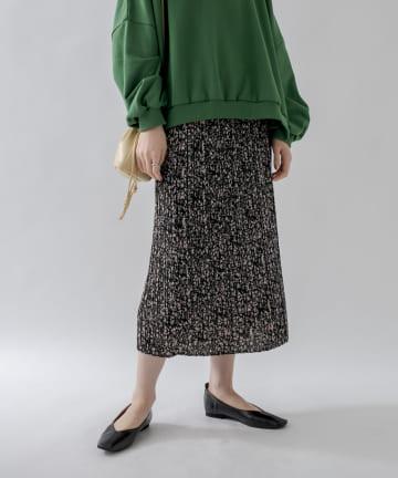 un dix cors(アンディコール) 【女性らしさを際立たせる】花柄プリーツIラインスカート