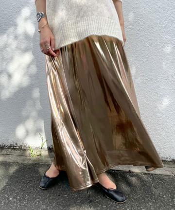 SHENERY(シーナリー) メタリックギャザーロングスカート