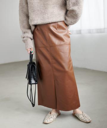 Discoat(ディスコート) フェイクレザーナロースカート