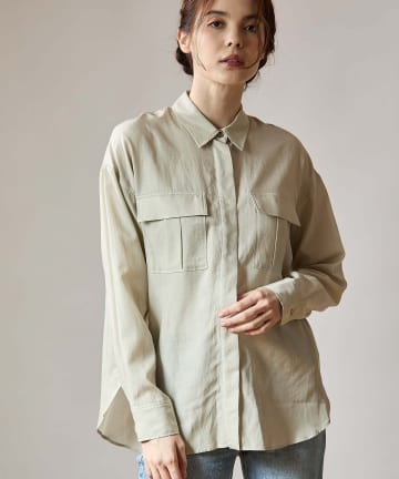 OUVRAGE CLASSE(ウヴラージュクラス) コットンキュプラワークシャツ