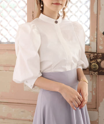 one after another NICE CLAUP(ワンアフターアナザー ナイスクラップ) 【Cherie chuu】gather sleeve blouse