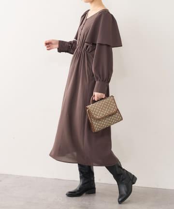natural couture(ナチュラルクチュール) ひらりケープフリルレディワンピース