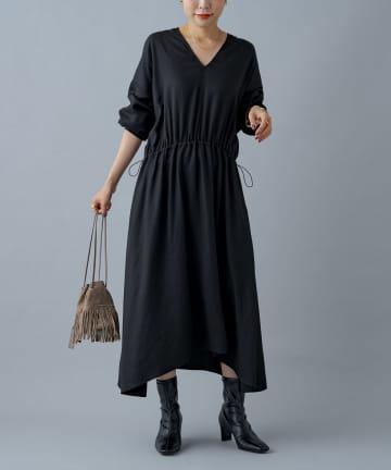 Loungedress(ラウンジドレス) 【odore/オドル】Vネックドロストワンピース