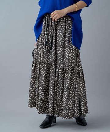 Loungedress(ラウンジドレス) 【odore/オドル】ロゴテープティアードスカート
