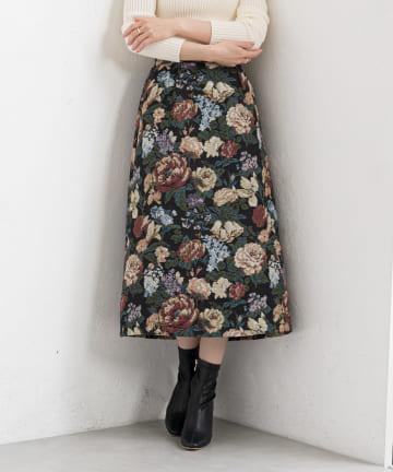 prose verse(プロズヴェール) 【バックウエストゴム仕様】花柄ゴブラン織りフレアスカート