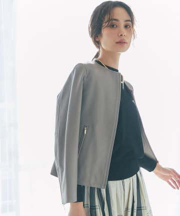 La boutique BonBon(ラブティックボンボン) 《予約》【女性らしい着こなしが叶う】ノーカラーレザージャケット