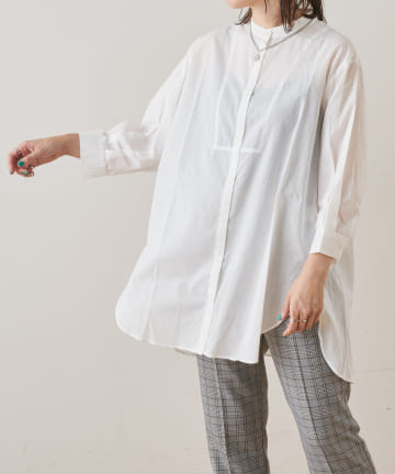 NICE CLAUP OUTLET(ナイスクラップ アウトレット) ローンバンドカラービッグシャツ