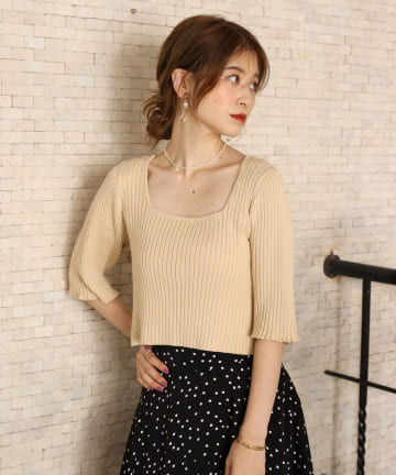 one after another NICE CLAUP(ワンアフターアナザー ナイスクラップ) 【Cherie chuu】2way cache-coeur knit
