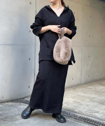 DOUDOU(ドゥドゥ) ケーブル編みSET フーディー+タイトスカート