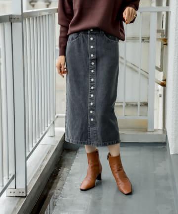 RIVE DROITE(リヴドロワ) 【大人の女性を美しく見せる】フロントボタンデニムスカート