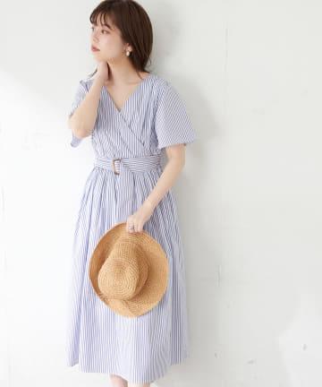 natural couture(ナチュラルクチュール) 【WEB限定】前後2WAYカシュクールフレア袖ワンピース