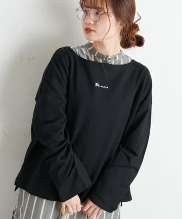 pual ce cin(ピュアルセシン) 【Du noir】防油加工ロゴ刺繍プルオーバー