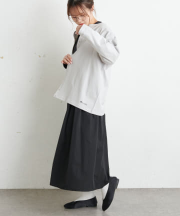 pual ce cin(ピュアルセシン) 【Du noir】防油加工ロゴ刺繍スナップ釦カーディガン