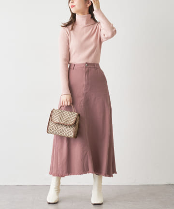 natural couture(ナチュラルクチュール) 【WEB限定】サイドタックフリンジスカート Mサイズ