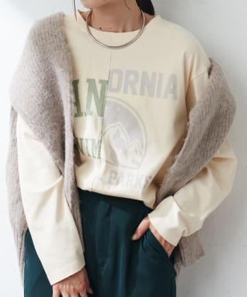 Discoat(ディスコート) リメイク風カレッジ切替ロングTシャツ