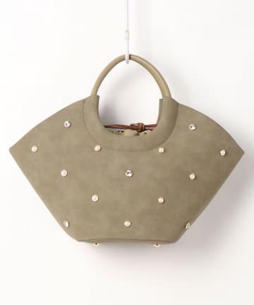 natural couture(ナチュラルクチュール) ビジュートートオーバルトートバッグ