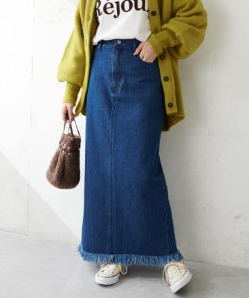 Discoat(ディスコート) USコットンデニムロングナロースカート