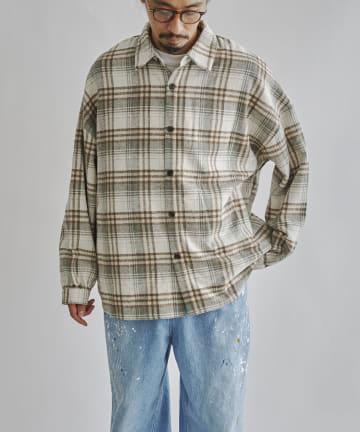 CPCM(シーピーシーエム) 起毛チェック長袖BIGシャツ